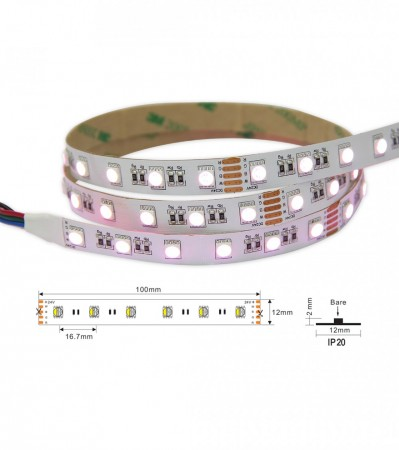 5M LED Strip 24V, RGB+2700K, 19,2W, IP68 Nano, CRI>80, 60LED/m